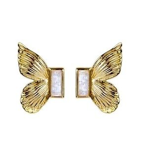 Butterfly earrings w/ natural stones.Gold plating